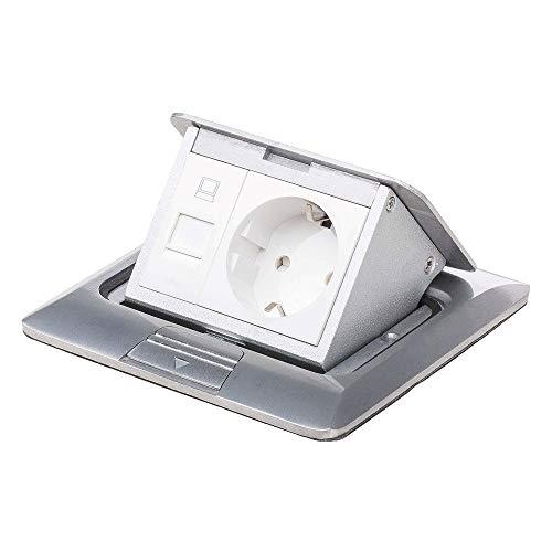 Einbausteckdose Fußbodensteckdose Steckdose Edelstahl für Boden & Wand versenkbar überfahrbar (Steckdose Netzwerkanschluss eckig)