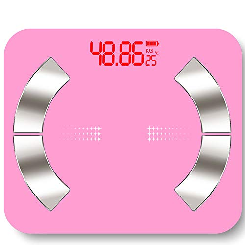 Dsqcai Bluetooth Smart Scale Weighing Scale Measuring Body Fat Hidden LED Screen 30 26Cm Large Scale Surface Best Weight Loss Monitor,Pink 1