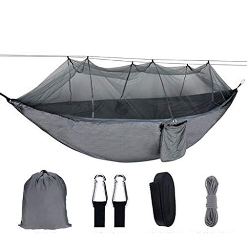 INTER FAST Camping Hammock With Mosquito Net-Suitable For Two People-Portable-Outdoor, Hiking, Backpacking, Traveling,Beach,Garden-260cm(8.5foot) x140cm(4.6foot)-Gray