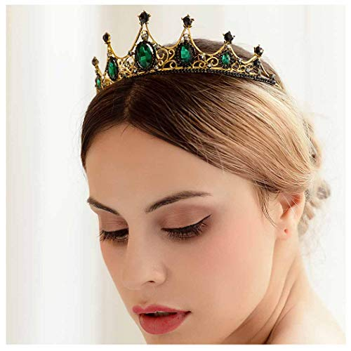 Yfe Wedding Bridal Crown Tudor Crown Tiara Emerald Crystal Crown Headband for Women and Girls Baroque PROP Crown