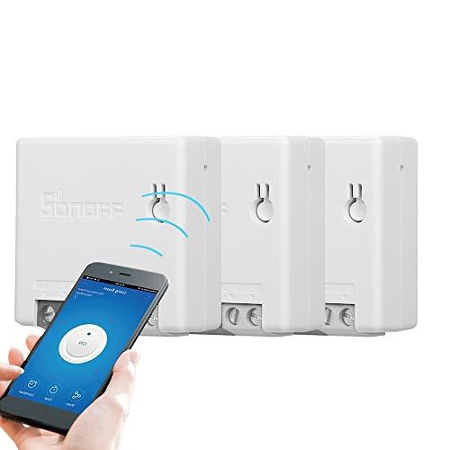 Docooler Mini R2 Smart Switch Interruptor de Control Remoto DIY para Electrodomésticos Funciona con Alexa Google Home (3 PCS)