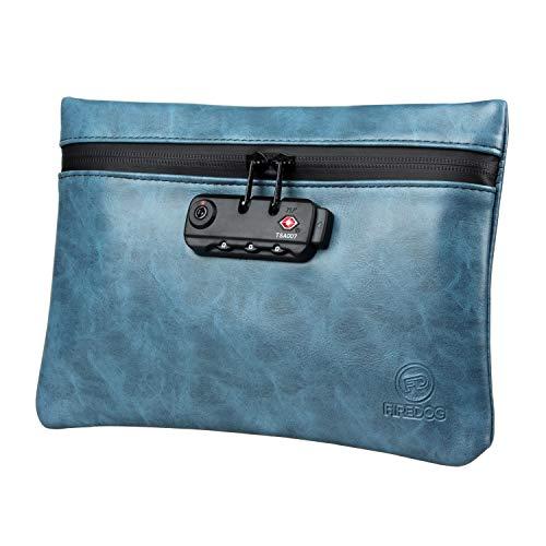 FIREDOG Geruchsdichte Beutel mit Zahlenschloss, 15,2 x 22,9 cm, geruchsdicht, für Reisen, Aufbewahrung (blau)