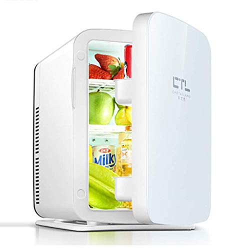SHKUU Mini refrigerador y Calentador refrigerador, Capacidad compacta, portátil y silenciosa.Compatibilidad alimentación CA + CC 10L Blanco (automóvil Doble Uso)
