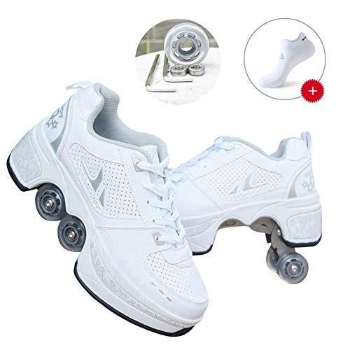 JTKDL Rollschuh Roller Skates Lauflernschuhe, Sneakers, 2in1 Mehrzweckschuhe Schuhe Mit Rollen Skateboardschuhe,Inline-Skate,Verstellbare Quad-Rollschuh Stiefel,Silver-38