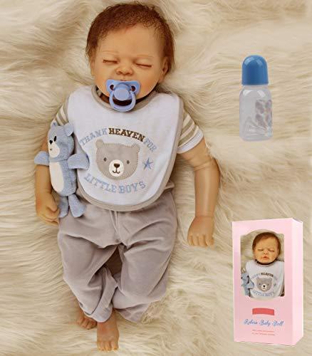 antboat 22 Pouces 55 cm Reborn Poupée Bébé Reborn Réaliste Silicone Souple Cadeaux de Noël Reborn Garcon Nouveau Née Reborn Baby Doll