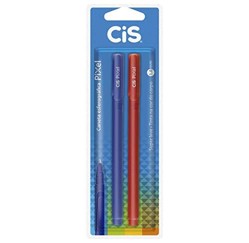 Caneta Esferográfica 1.0mm, CiS, Pixel, 55.7401, Azul e Vermelho, 2 Unidades