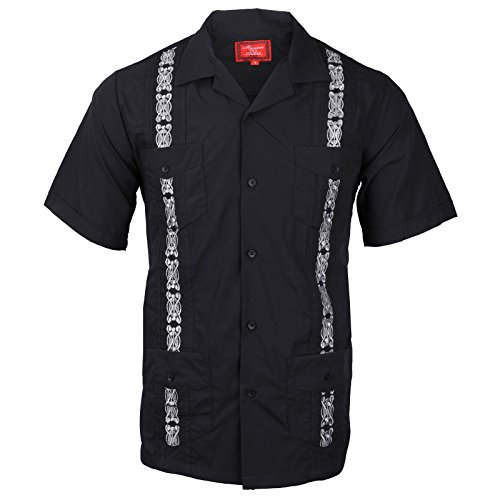 vkwear Guayabera Men's Cuban Beach Wedding Short Sleeve Button-up Casual Dress Shirt (3X-Large, Black/White)