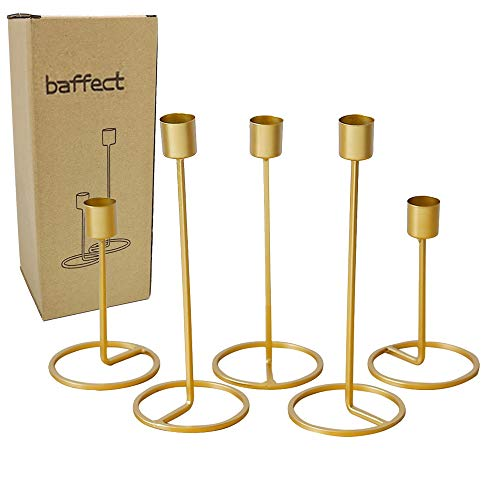Baffect Season Candle Holder Set of 5, Iron Candle Light Holder Wedding Christmas Table Centrepiece Decoration Gold Candle Holders for Wedding Party Dinner Feast Decor (5pcs)
