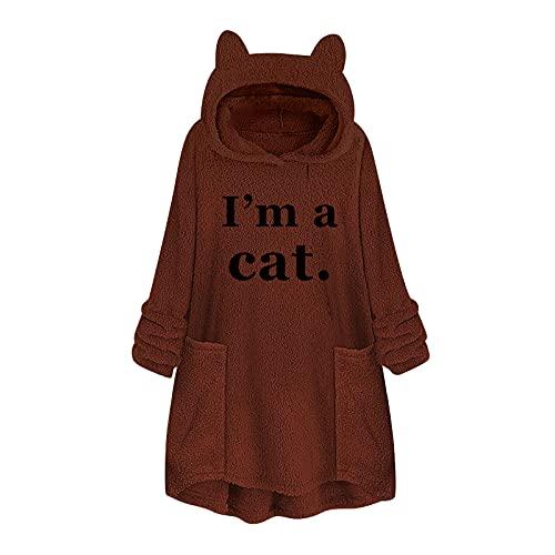 Wave166 Sudadera con capucha con texto «I 'm a cat» para otoño e invierno, acolchada, de longitud media, con bolsillos, diseño de orejas de gato, marrón, M
