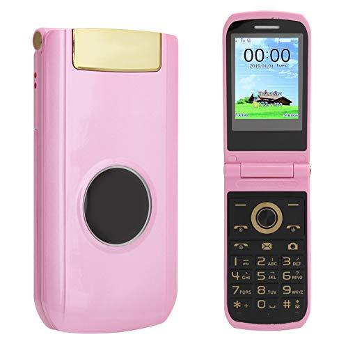 Teléfono móvil de 2,4 pulgadas, mini teléfono plegable, teléfono móvil plegable de doble modo de espera, teléfono con resolución 240x320, mini teléfono móvil, tiempo de espera prolongado(Rosa)