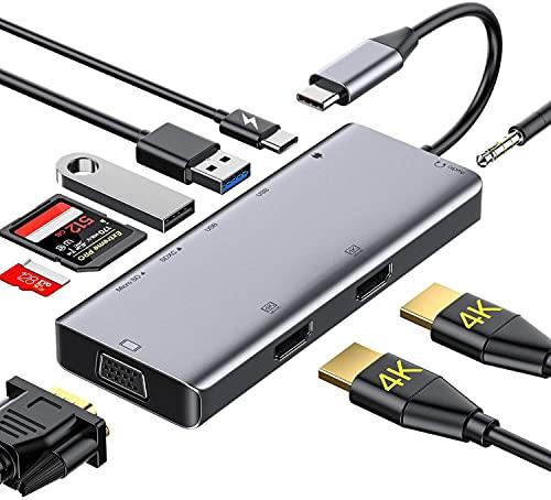 Rozeda USB C HUB 11 in 1 in Dex Station con HDMI 4K, USB 3.0,Ricarica,Lettore di Schede SD/TF OTG Tipo C Dock Compatibile with Samsung S8/S9,Nintendo Switch,MacBook PRO 2018/2017