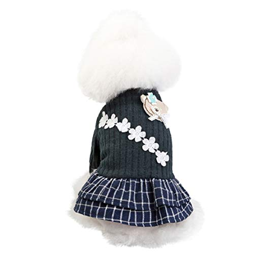 Bluelucon Warme trui gebreide jas winter flanel kleine chihuahua kleding hondenmantel kat boog gebreide goederen prinses jurk pet rooster rok kleding