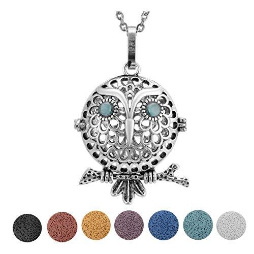 JOVIVI Lava Stone Diffuser Necklace Silver Plated Owl Aromatherapy Essential Oil Locket Pendant with 7 Colors Lava Stone Set (Owl Hold Tree Locket + 7pcs Lava Stone)