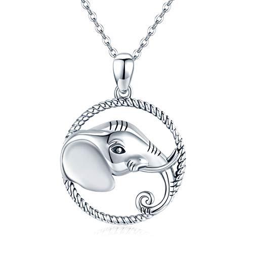 Elefant Kette für Damen, Elefant Halsketten für Frauen Elefanten Anhänger Tier Schmuck Kettenlänge Geschenke für Valentinstag Mädchen Oma Familie Mama
