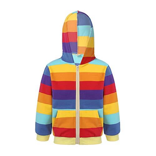 YOOJIA Kinder Mädchen Frühlingsjacke Langarm Kapuzenpullover Hoodie Pullover mit Tasche Baumwolle Sweatjacke gr.98-152 Dark Regenbogen 104-110
