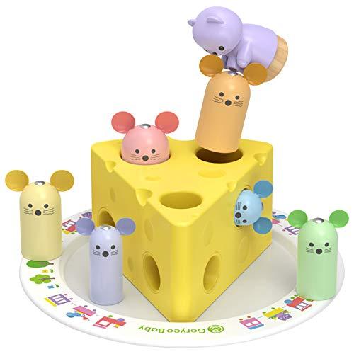 XIAPIA Juguetes Bebes 1 Año Montessori de Madera Educativos para Juegos Niños 2 Años Rompecabezas Regalo Bebés Puzzle Regalo Cumpleaños,Navidad para Niños y Bebés de 1 2 3 Años (Queso)