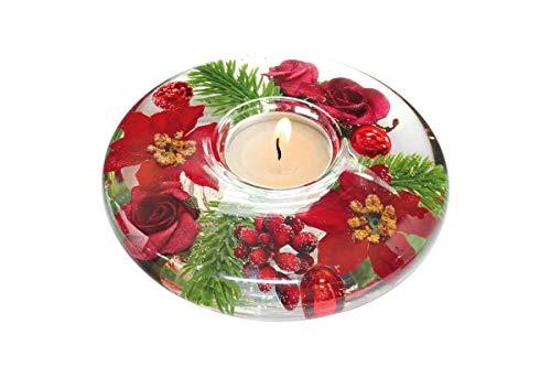 Dreamlight Moderner Teelichthalter Windlichthalter aus Glas mit Rosen Herbst und Weihnachtsdekoration Durchmesser 13 cm *Exklusive Handarbeit*