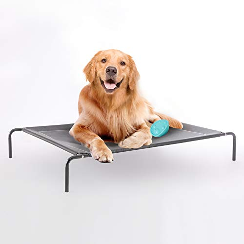 Western Home Elevated Dog Bed - 36/43/49 in Cooling Raised Pet Cot for Indoor Outdoor Large Medium Small Dogs, Raised Dog Bed for Camping or Beach, Frame with Durable Breathable Mesh(Grey/Black)