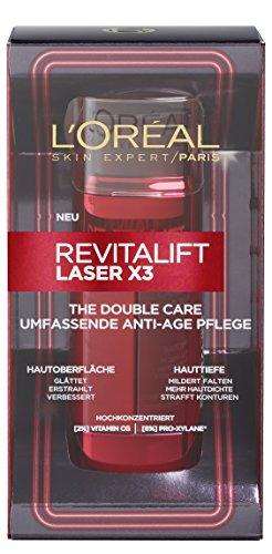 L'Oréal Paris Revitalift Laser X3 Anti-Aging Gesichtspflege The Double Care, mit Pro-Xylane, mildert Falten und strafft die Haut, 48 ml