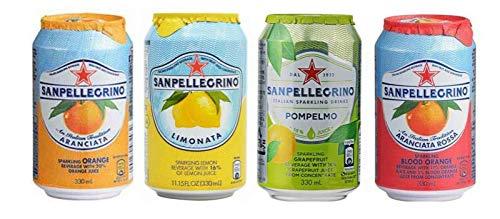 サンペレグリノ 4缶 飲み比べセット 飲み比べセット 海外炭酸 炭酸セット 味比べ パーティー お試し 甘味 イタリアのドリンク 海外の定番 大人気飲料