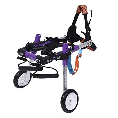 Zerodis Hunderollstuhl, Zwei Räder Verstellbarer Hunderollstuhl Haustier Hinterbeine Rehabilitation Rollstuhl für kleine Hunde Katze/Hund/Welpe Hinterbeine Rehabilitation(XS-Lila)