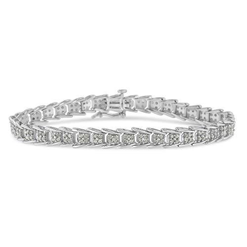 """.925 Sterling Silver 2.0 Cttw Diamond Fan-Shaped Fancy Fish-Scale Link Tennis Bracelet (I-J Color, I3 Clarity) - 7"""""""