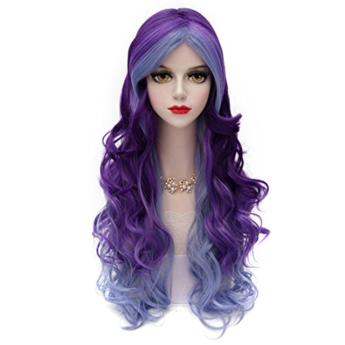Christmas Women Violet Purple Wig, MQ Long Curly Wavy Wig for Girls 29.5 Inch Colorful Wigs New Year Cosplay Costume Party Fluffy Wig Synthetic Charming Heat Friendly Ombre Wigs (Blue to Purple)