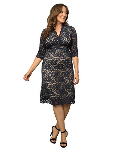 Kiyonna Women's Plus Size Scalloped Boudoir Lace Dress 4X Navy Lace Nude Lining