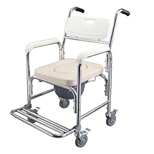SAILUN Medical Fahrbar Toilettenrollstuhl Toilettenstuhl Nachtstuhl Dusch Badehilfen Duschstuhl mit Armlehne und Rückenlehne