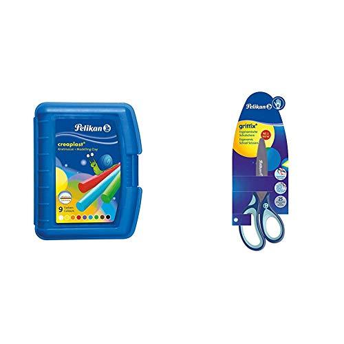 Pelikan 622415 Modelliermassen Kinderknete Creaplast, 300g, blau & 803502 griffix Schulschere, Blau, für Rechtshänder