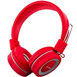 Kids Headphones with Microphone, Wired On-Ear Headsets with Safe Volume Limited 90dB, Foldable Durable Earphones for Boys/Girls/Toddlers/Children/School/Travel/(Red Carpet Strut)
