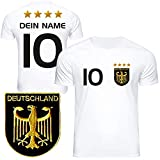 DE FANSHOP Deutschland Trikot mit GRATIS Wunschname Nummer #D1 2021 2022 EM/WM weiß - Geschenk für Kinder Jungen Baby Fußball T-Shirt personalisiert