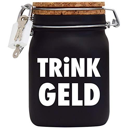 Spardose Trinkgeldkasse Kaffeekasse Trinkgeld Geld-Geschenk-Idee in Schwarzem Glas L