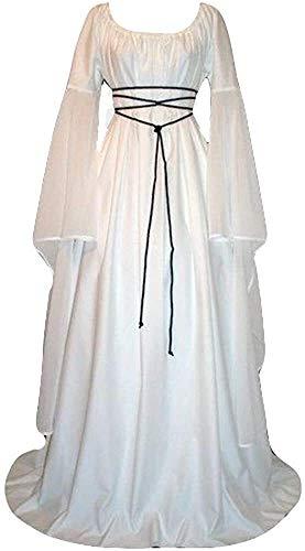 Damen Plus Größe Solide Vintage Renaissance Länge Ärmel Bandage Länges Partykleid Mittelalter Kostüm Magd Lady Marianne Robin Hood (Color : Weiß, One Size : XL)