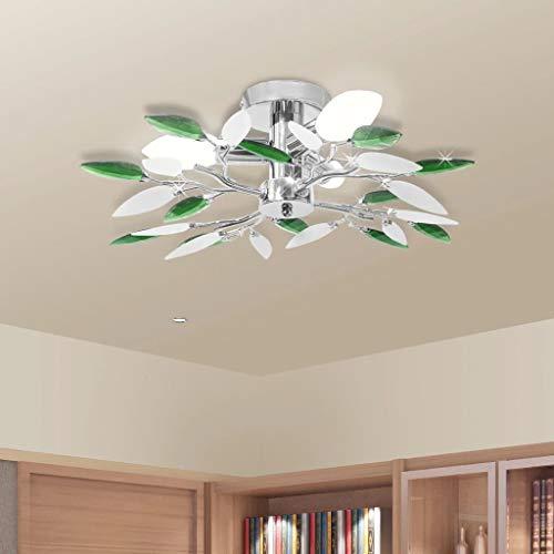 Lampada da Soffitto, Foglie Bianco e Viola Cristallo Acrilico Lampadario, plafoniera moderno lampada da soffitto per soggiorno, cucina, camera, bagno (Verde)