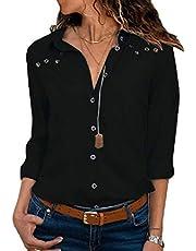 GAGA قمصان نسائية كاجوال بلايز الخامس الرقبة الصلبة زر أسفل تي شيرت