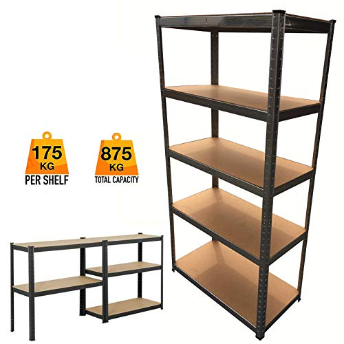 Top Garage Shed Racking Storage Shelving Units Boltless Metal Shelves 5 Tier UK Stand for Home/Office/Dormitory/Garage, 59inch Height