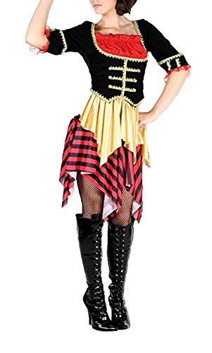 Islander Fashions Womens Captain Sal kostuum dames zwarte parel Wench Caption Fancy jurk Outfit een maat (Fit UK 8-14)