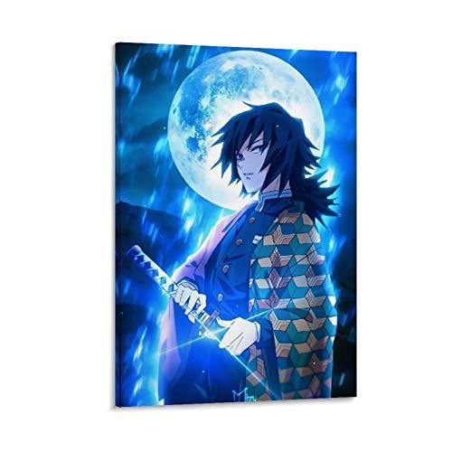 DRAGON VINES Póster de anime demonio asesino Tomioka Giyuu The Pilars Cool Pintura Arte de pared Decoración para dormitorio sala de estar 30 x 45 cm