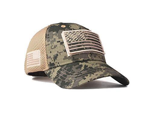 Anna-Kaci 4th of July American Military Embroidered USA Flag Soft Mesh Hat Baseball Camo Caps, Snow camo, OneSize