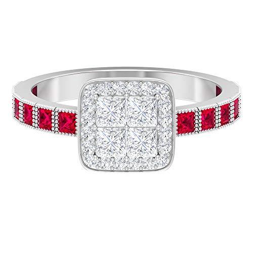 Anillo de diamante de talla princesa HI-SI, 2,8 mm, 1,8 mm, corte princesa, creado en laboratorio, anillo de rubí, 14K Oro blanco, ruby lab creado, Size:EU 50