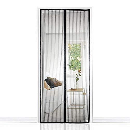 Mosquitera Puertas, TRONMA Mosquitera Magnética Automático para Puertas Cortina de Sala de Estar la Puerta del Balcón Puerta Corredera de Patio(90 * 210cm,negro)