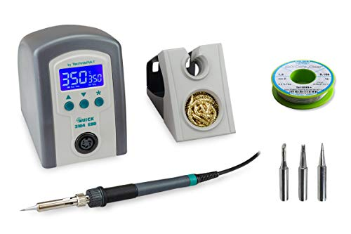 QUICK 3104 digitale ESD Lötstation 80 Watt 100 °C bis 450 °C inkl. StarterSET 3 multifunktionalen Ablageständer, Silikonpad, 4 Lötspitzen , Lötdraht Sn100Ni+ 100 g Spule