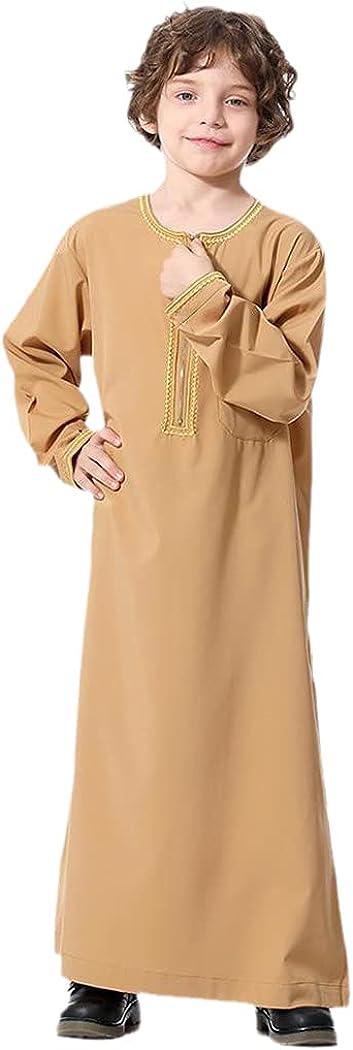 Muslim Kids Abaya Jubba Thobe Saudi Arabia Boy Long Dress Islamic Ramadan Children Caftan Robe Dubai Arab Kaftan