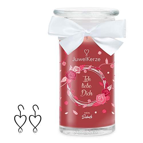 JuwelKerze Ich Liebe Dich, große Duftkerze (Rose, 1020g, 95-125 Std. Brenndauer) in Rot mit 925er Sterling Silber Schmuck, Ohrringe, Kristalle von Swarovski