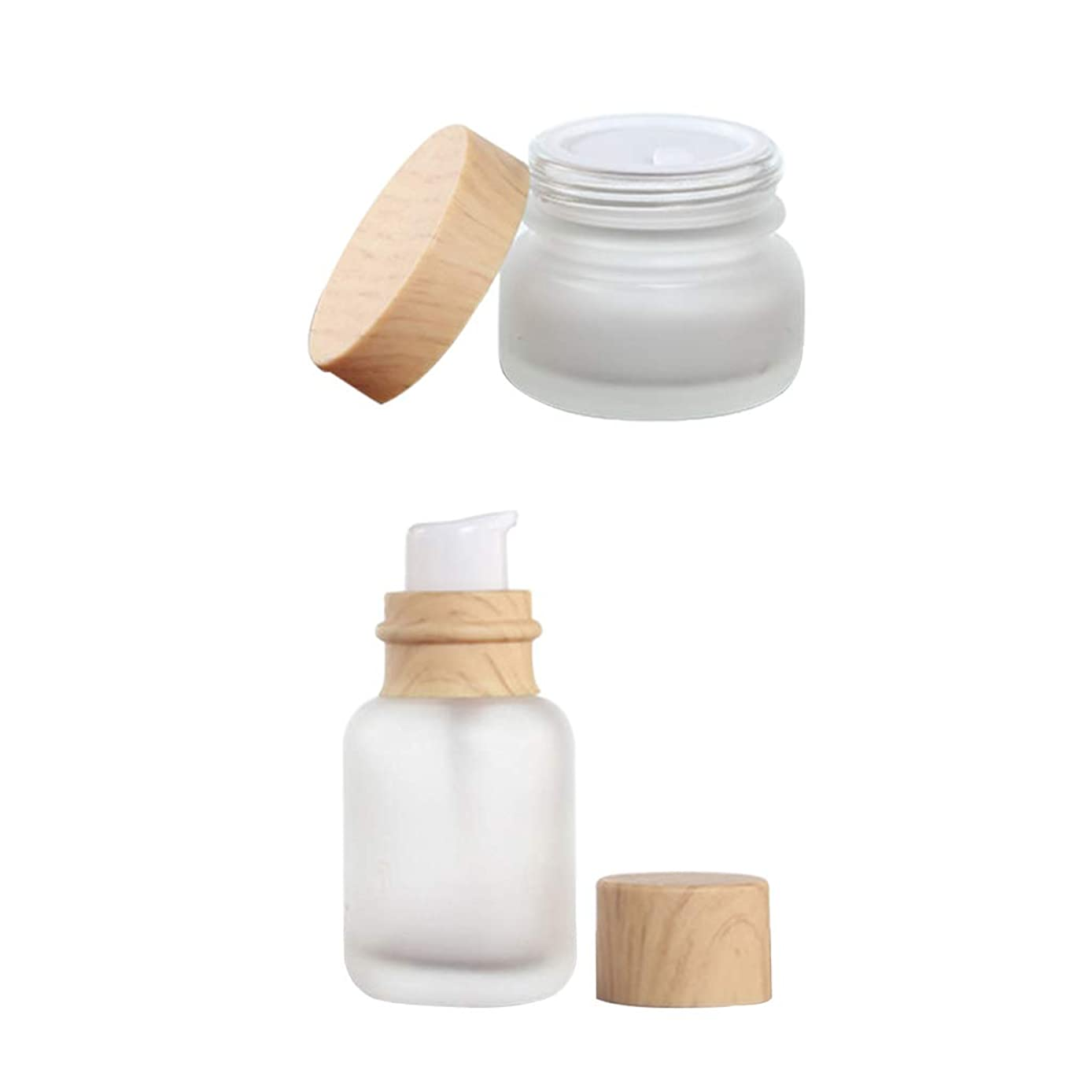 探す聖人社会主義SM SunniMix ポンプボトル クリームケース 小分け 詰め替え容器 50ML 広い口 木製カバー付き 化粧品 容器瓶