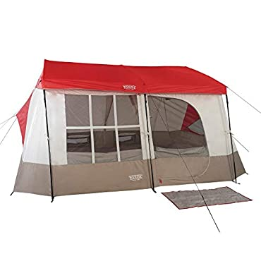 Wenzel Kodiak 9 Person Family Cabin Style Outdoor Camping Tent w/Divider, Red