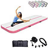 Air Track Gymnastics Mats Tumbling Mat 10ft 13ft 16ft 20ft Air Mat 4/8 Inches Thickness with Electric Air Pump Air Barrel Roller Folding Storage for Home (4m, Pink)
