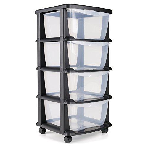 Maxi Nature Kitchenware Cajoneras contenedores de plástico con Ruedas para Uso rudo Contenedores para almacenaje de Color Negro con 4 cajones - Hecho en Europa