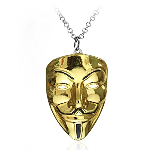 HS86 V wie Vendetta Maske Kette Gold Halskette Anonymous Vendetta Guy Fawkes